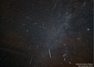 Astrophotographer Kevin Lewis produced this composite image of the Geminid meteors using exposures taken on the island of Anglesey, off the northwest coast of Wales, on Dec. 14, 2015.