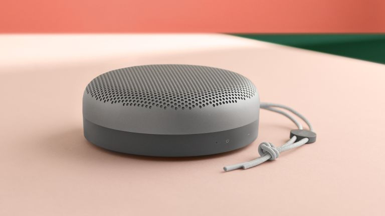Best Bluetooth speakers 2021, B&O A1 on pink surface