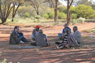 Researchers have found that Aboriginal Australians are some of the oldest living populations on Earth. Here, Eske Willerslev talks to Aboriginal elders n the Kalgoorlie area in southwestern Australia in 2012.