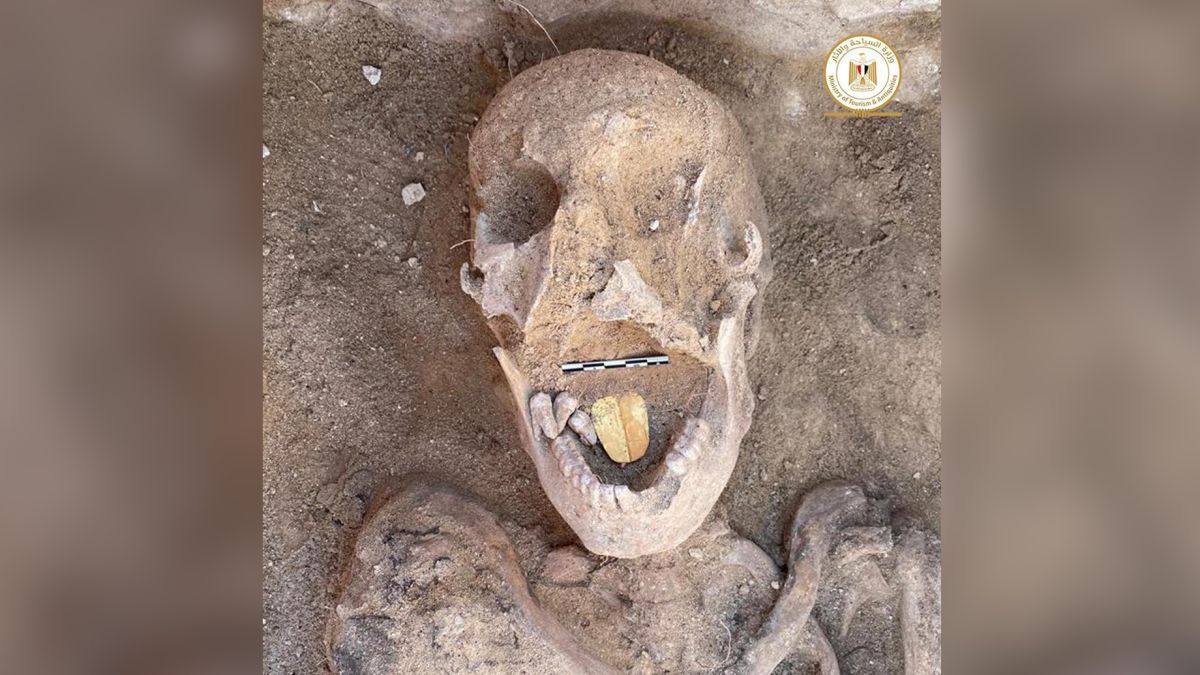 Mummy with a gold tongue found in Egypt