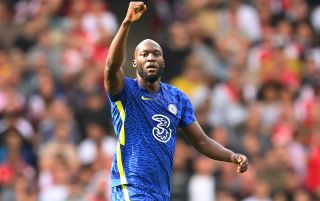 Chelsea striker Romelu Lukaku celebrates after scoring against Arsenal