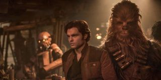 Alden Ehrenreich as Han Solo with Chewbacca in Solo: A Star Wars Story