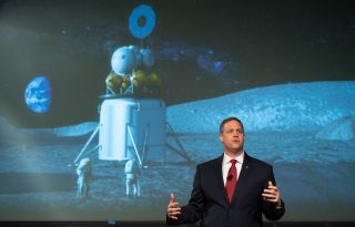 NASA Administrator Jim Bridenstine details the agency's plans to land astronauts on the moon by 2028 to space industry teams.
