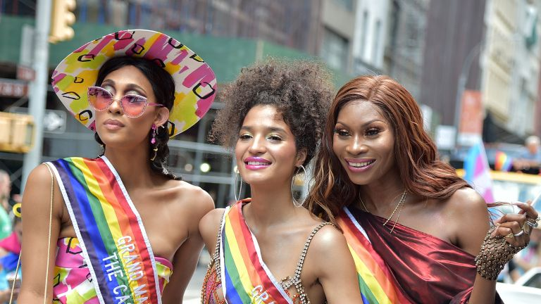 Mj Rodriguez, Indya Moore and Dominique Jackson attend Pride March - WorldPride NYC 2019 on June 30, 2019 in New York City