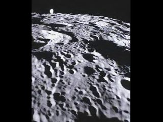 This image of the far side of the lunar surface, with Earth in the background, was taken by the MoonKAM system board the Ebb spacecraft as part of the first image set taken from lunar orbit from March 15 to 18, 2012.