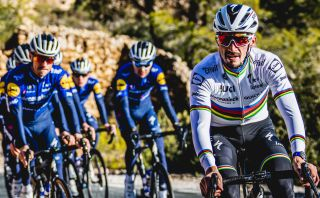 Julian Alaphilippe leads the Deceuninck-QuickStep training ride