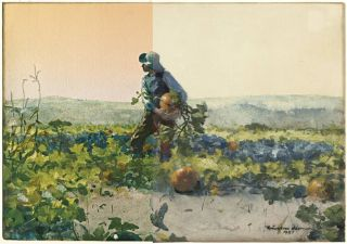 "This image shows the 1887 Winslow Homer painting ""For to Be a Farmer's Boy"" as it now appears (right) and a digital recreation of the original coloring (left)."