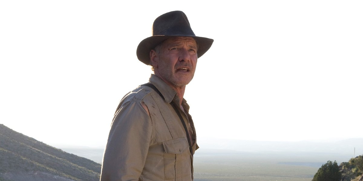 Harrison Ford stands in a clearing in Indiana Jones and the Kingdom of the Crystal Skull.