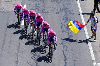 EF Pro Cycling on the team trial course during stage 1 at Tour Colombia 2.1