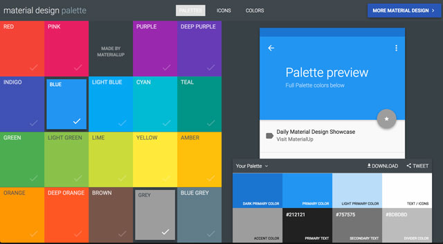 Material Design Palette selection screen