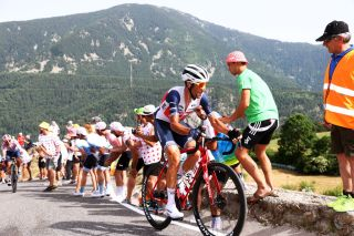 ANDORRELAVIEILLE ANDORRA JULY 11 Vincenzo Nibali of Italy and Team Trek Segafredo during the 108th Tour de France 2021 Stage 15 a 1913km stage from Cret to AndorrelaVieille Col de Beixalis 1796m Public Fans LeTour TDF2021 on July 11 2021 in AndorrelaVieille Andorra Photo by Michael SteeleGetty Images