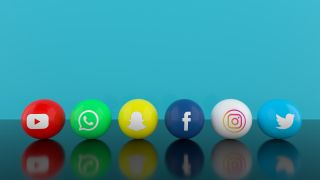 Social media icons on a blue background