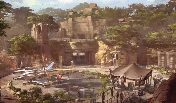 Star Wars Land Concept art with X-wing