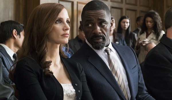 Molly's Game Jessica Chastain Idris Elba sitting in court