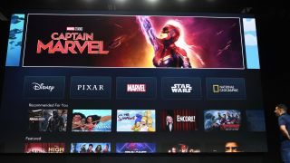 "The interface of Disney+ streaming service is displayed on Apple Inc.'s AppleTV at the D23 Expo, billed as the ""largest Disney fan event in the world,"" on August 23, 2019 at the Anaheim Convention Center in Anaheim, California. - Disney Plus will launch on November 12 and will compete with out streaming services such as Netflix, Amazon, HBO Now and soon Apple TV Plus."