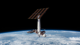 An artist's depiction of the Axiom module after its detachment from the International Space Station.