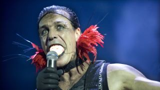 Till Lindemann of Rammstein on stage at the Gelredome on 6th December 2009 in Arnhem, Holland