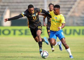 Themba Zwane challenged by Njabulo Blom