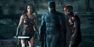 Gal Gadot as Wonder Woman, Ben Affleck as Batman and Ezra Miller as The Flash in Justice League (201