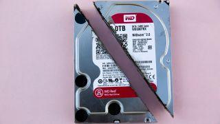 A Western Digital hard drive cut in half