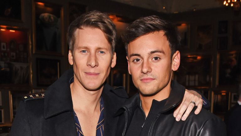 LONDON, ENGLAND - JANUARY 08: Dustin Lance Black (L) and Tom Daley attend the GQ London Fashion Week Men's 2018 closing dinner hosted by Dylan Jones and Rita Ora at Berners Tavern on January 8, 2018 in London, England. (Photo by David M. Benett/Dave Benett/Getty Images)