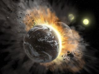 An artist's illustration shows two large planets smashing into each other with two suns shining in the distance.