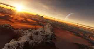 An artist's impression of the view from an alien world.