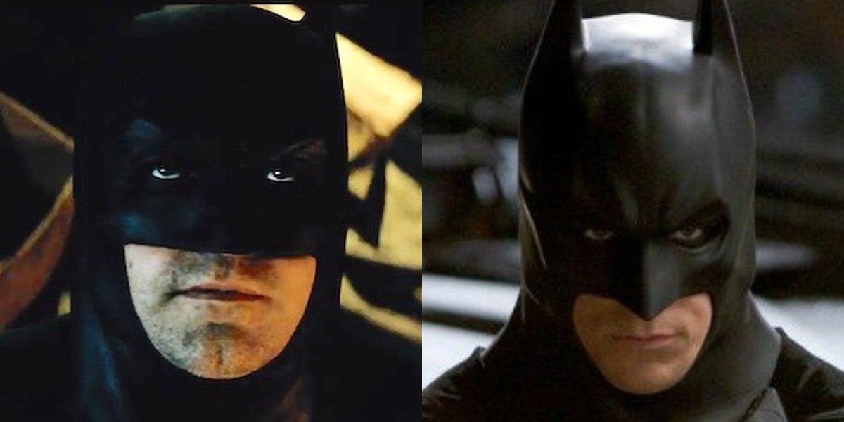 Split image of Ben Affleck and Christian Bale as Batman.