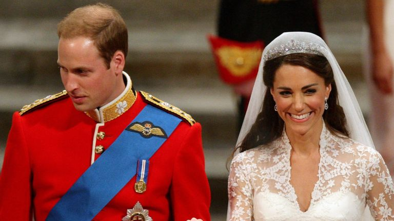 Prince William and Catherine Middleton leave Westminster Abbey following their Royal Wedding on April 29, 2011 in London, England.