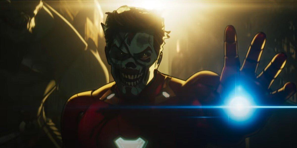 Zombie Tony Stark raises his repulsor glove in Marvel Studios' What If...?