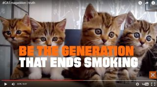 A screenshot from a new anti-smoking ad featuring viral cat videos.