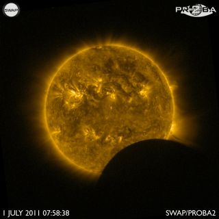 Partial Solar Eclipse of July 1, 2011, Seen by the Proba-2 Satellite in Extreme Ultraviolet