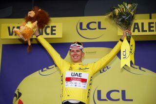 Tadej Pogacar (UAE Team Emirates) on the podium after stage 10