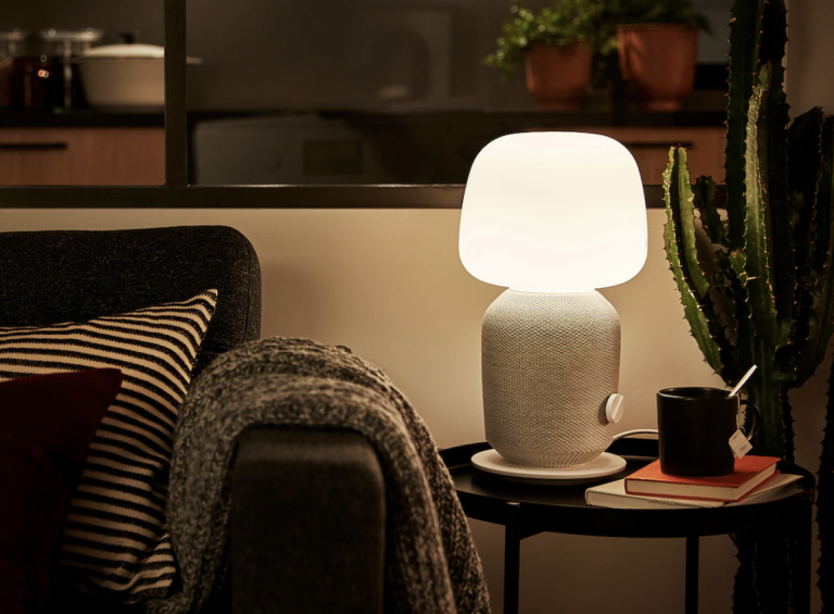 Ikea table lamp and speaker