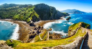 "Here, the path to San Juan de Gaztelugatxe, famous for being the location of Dragonstone in ""Game of Thrones."""