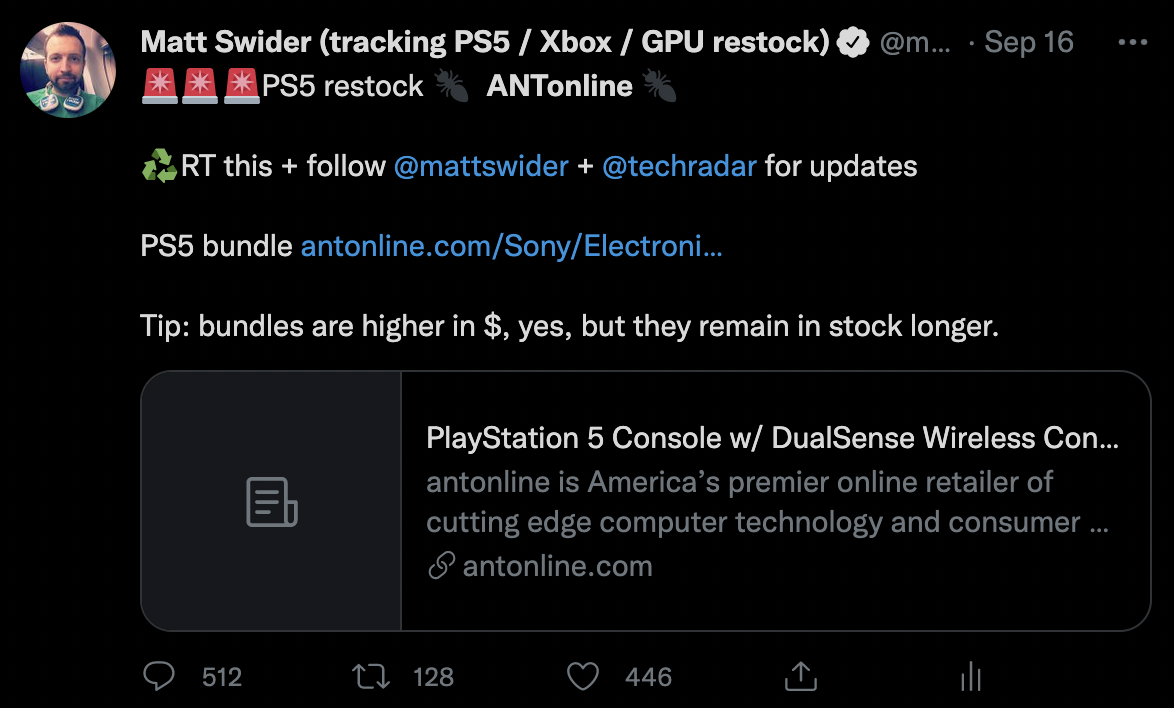 PS5 restock Antonline Twitter tracker Matt Swider