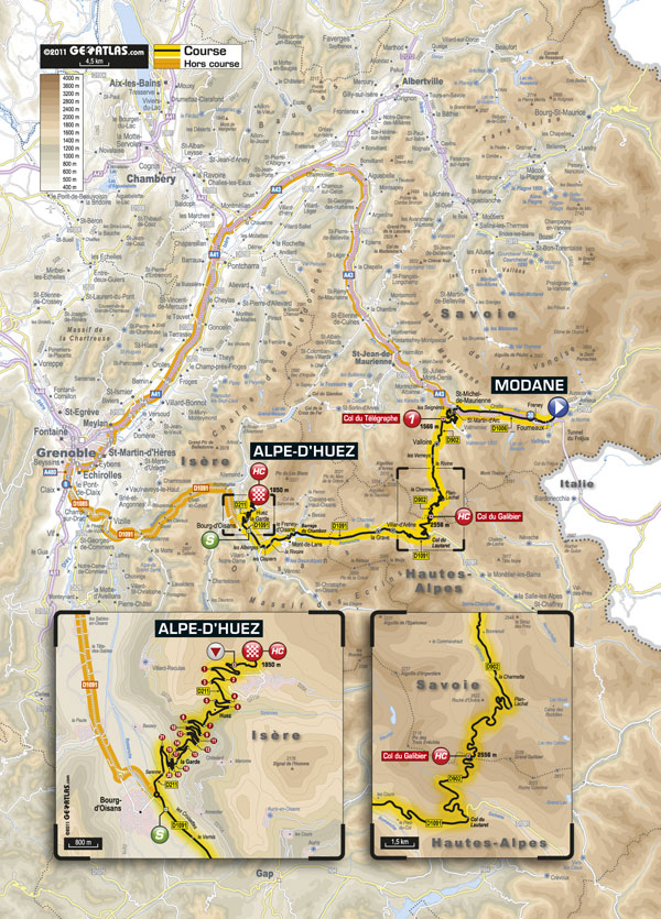 Stage 19 map, Tour de France 2011