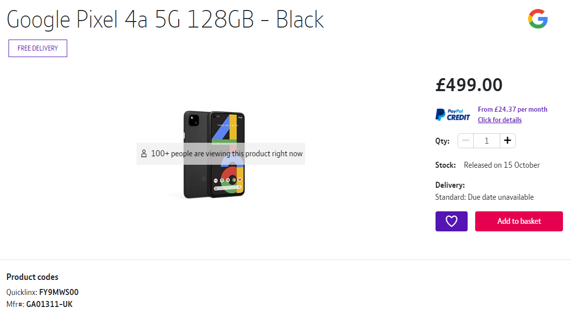A listing for the Google Pixel 4a 5G in the BT Store.