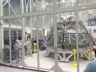 Orion Capsule and Workers in Clean Room