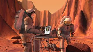 Humans Conducting Sample Analysis on Mars Concept Art