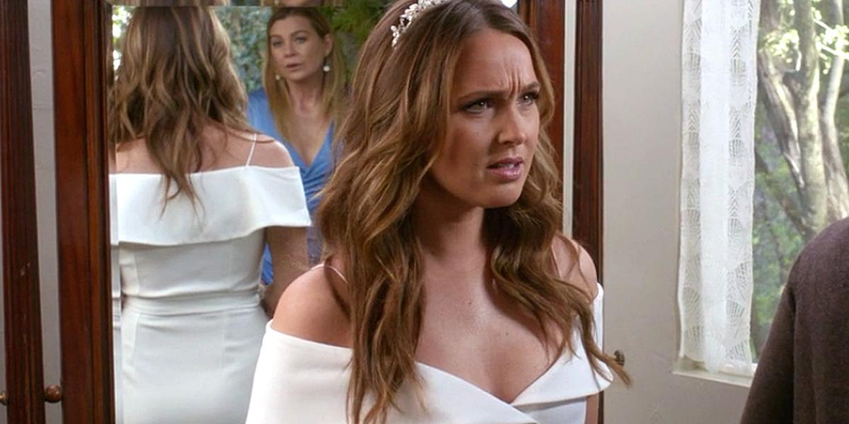 Grey's Anatomy Season 14 Jo wedding dress with Meredith Grey ABC
