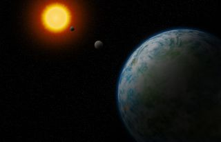 An artist's illustration of the newfound exoplanet GJ180 d, which is the nearest temperate super-Earth to us that is not tidally locked to its star, making it more likely to be able to host life.
