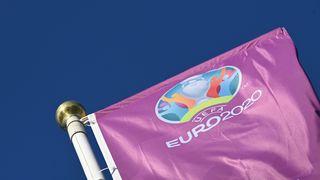 The Euro 2020 tournament flag outside Parken Stadium in Copenhagen.