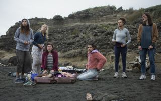 Pictured (l-r) Helena Howard, Mia Healy, Shannon Berry, Sophia Ali, Reign Edwards and Sarah Pidgeon in episode two of 'The Wilds'