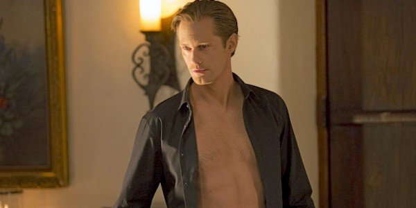 Alexander Skarsgard True Blood open gray shirt