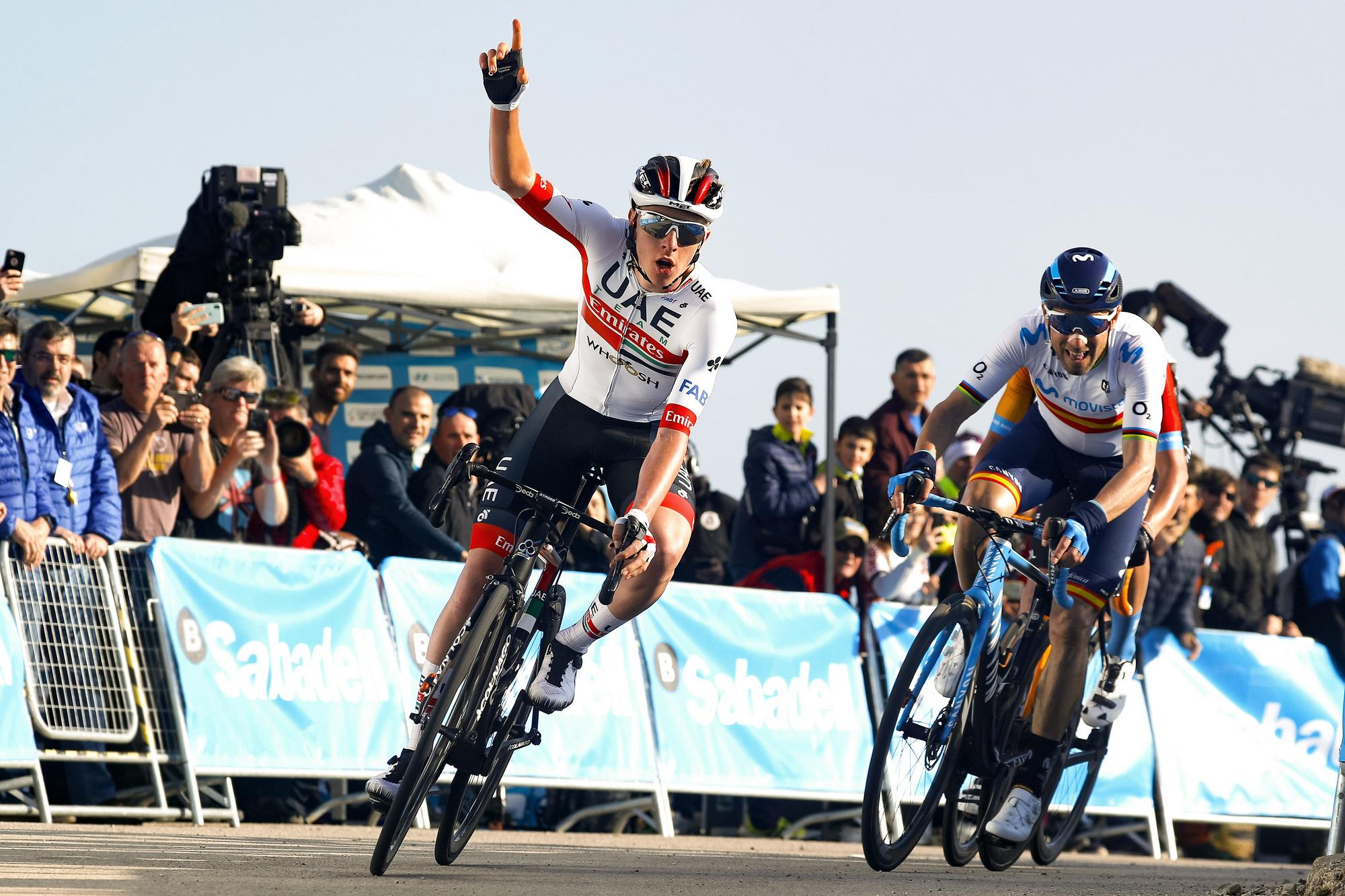 Volta a la Comunitat Valenciana 2020 - 71st Edition - 2nd stage Torrent - Cullera 181 km - 06/02/2020 - Tadej Pogacar (SLO - UAE - Team Emirates) - Alejandro Valverde (ESP - Movistar Team) - photo Luis Angel Gomez/BettiniPhoto©2020