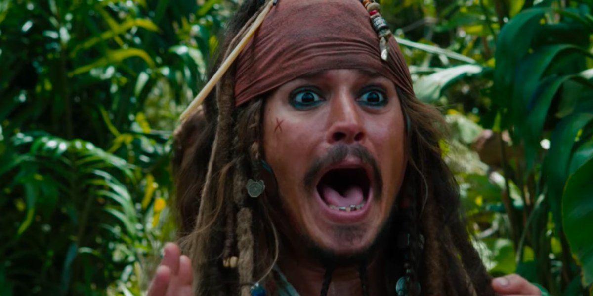 Pirates of the Caribbean Jack Sparrow screaming in the jungle
