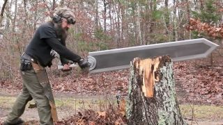 Swordmaker Michael Cthulhu slicing a giant sword into a tree stump