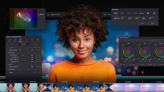 Best video editing software: Smiling woman with video editing software screens in background