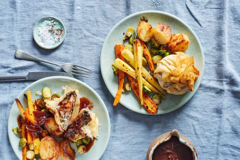 Healthy vegan roast dinner